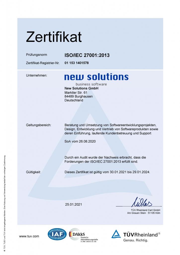 Zertifizierung der New Solutions GmbH nach der ISO/IEC-Norm 27001