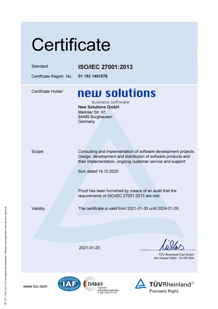ISO Certificate of New Solutions